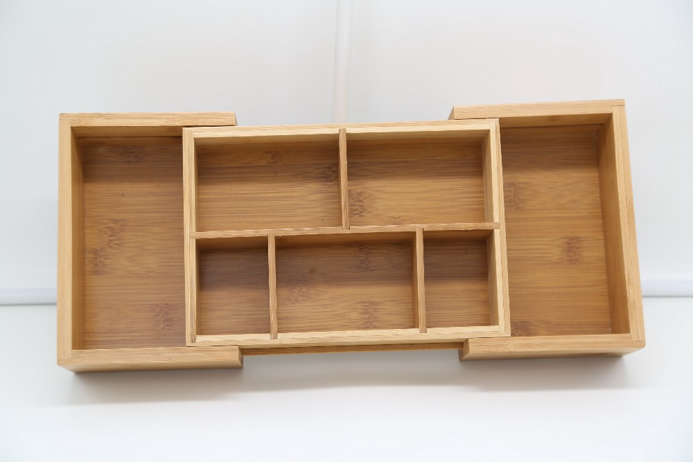expandable bamboo wooden drawer organizer sachet holder tea bag storage box