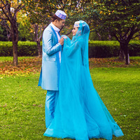 Turquoise Muslim Wedding Dresses 2016 With Big Flare Sleeve Bow High Neck And Sash Shining Beaded Sequin Vestidos De Noiva ML140