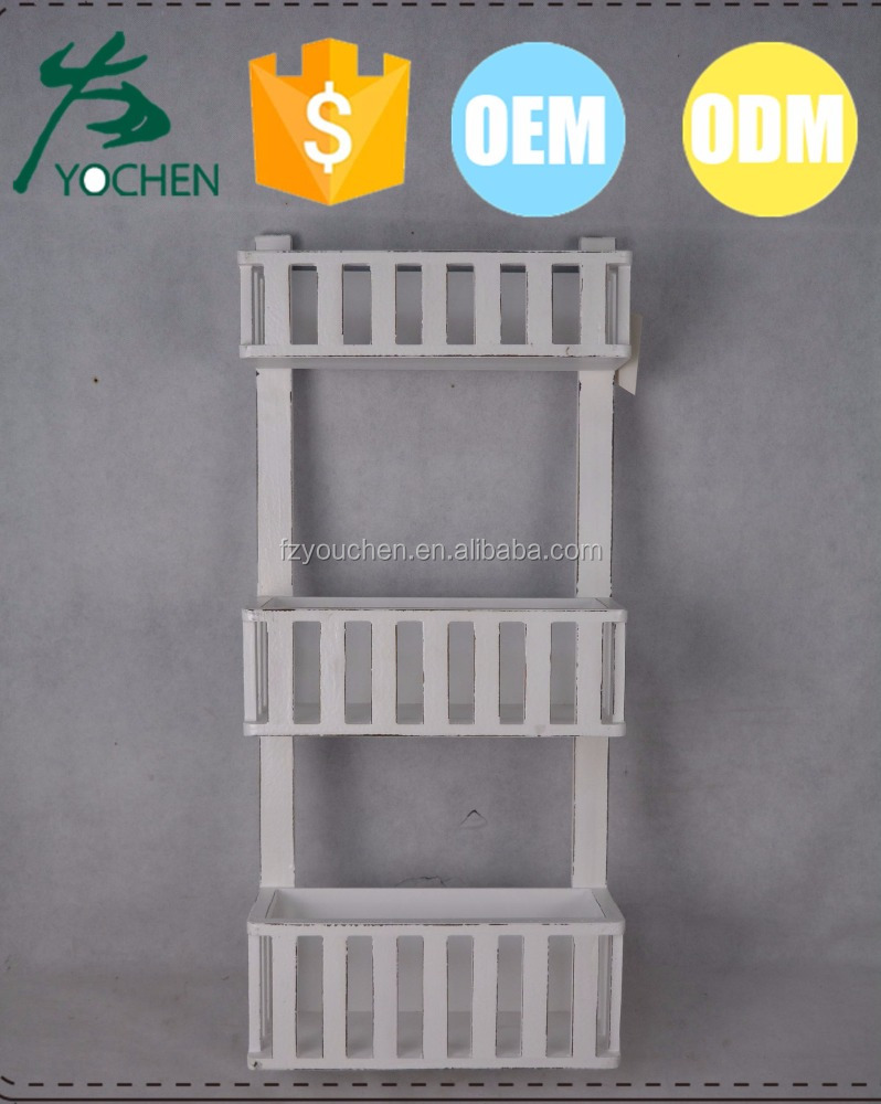 White Washed Wooden Wall-Mount 3-Tier Letter Holder Rack
