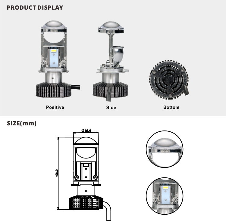 New Design H4 Mini Projector Led Headlight Replacement Bulbs