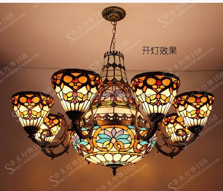 Europe style handmade Tiffany ceiling lamp restaurant lights decoation