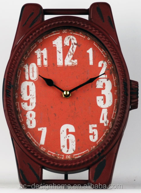 ANTIQUE RED WATCH SHAPE TABLE TOP DECORATIVE METAL CLOCK