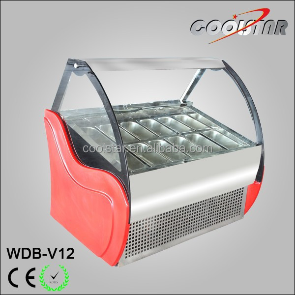 Convenient castor design Ice Cream Display Freezer