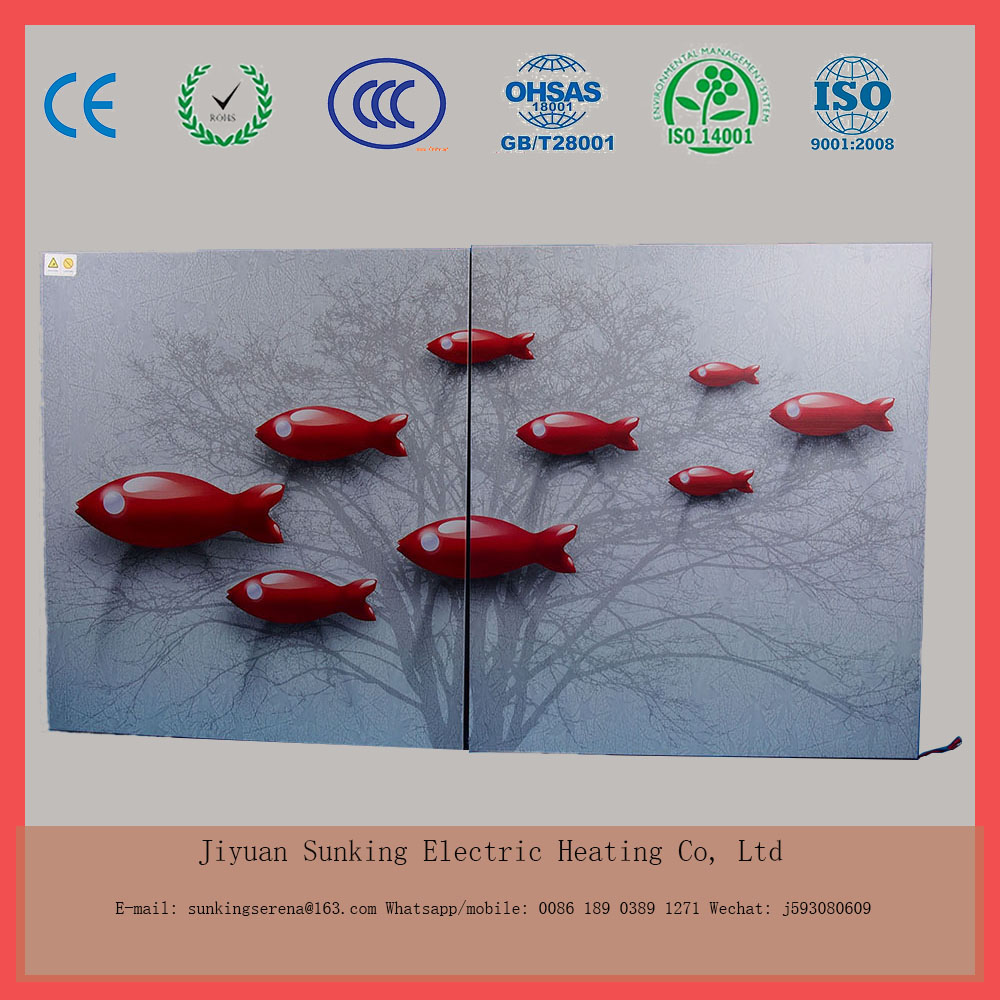 750W factory sell wall- mounted carbon fiber electric heating painting or drawing room heater