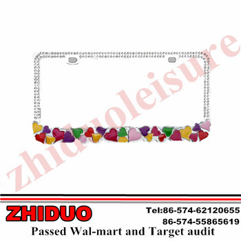 "OEM 6.2*12.2"" Colorful Hearts with Crystal Zinc License Plate Frame"