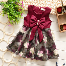 New arrival unique baby girl names images children girl wool dress with beautiful bowknot