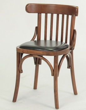 Wooden armless dining chair with PU Seat/ Restaurant chair