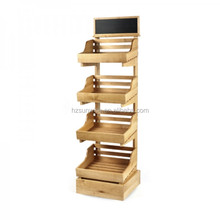 Low price good quality bakery store 2-4 tier retail wood bread display stand with chalkboard