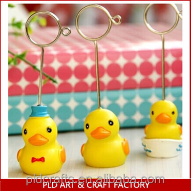 polyresin little duck r model name card holder/cute message clip/wholesale