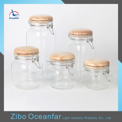 High Quality Square Kitchen Canister Set 5 Vacuum Seal Glass Jars With Wooden Top