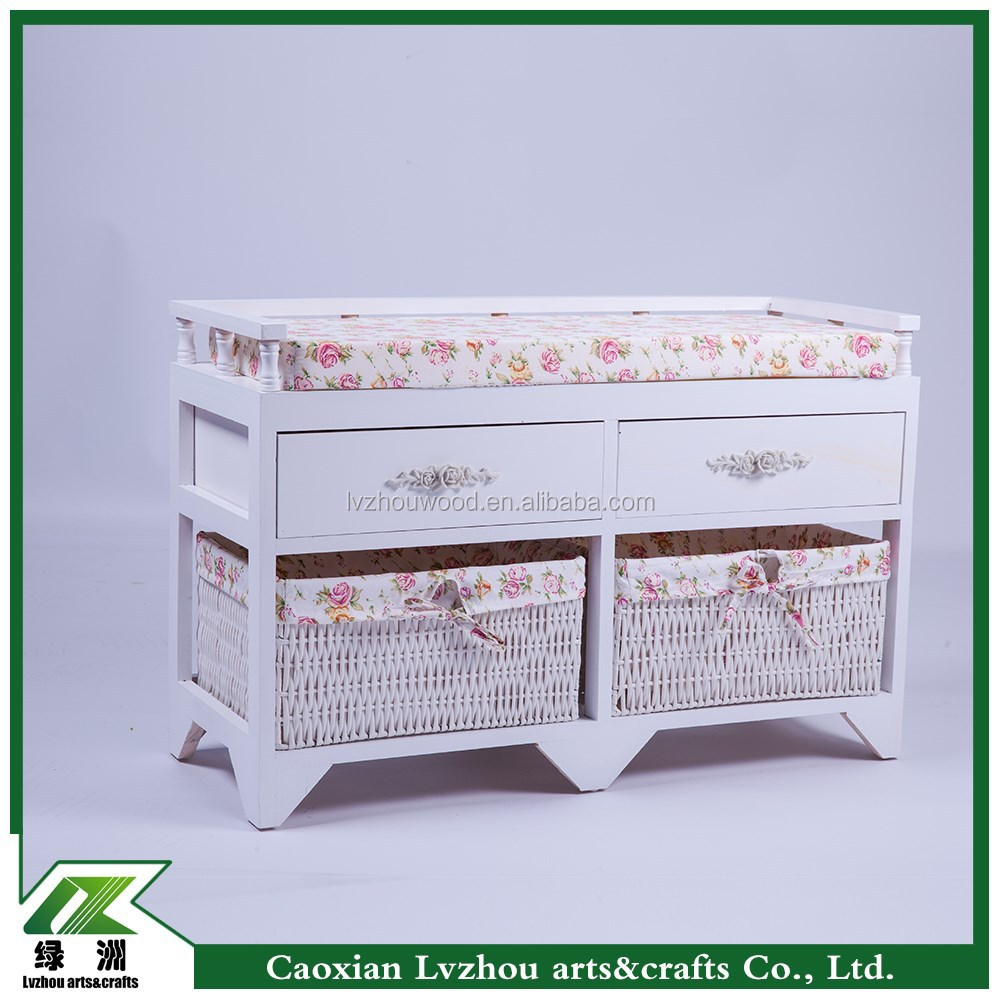 Korea stely wood storage shoes bench with wicker baskets
