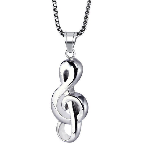 Yiwu ruigang high polished music symbol wholesale hip hop style stainless steel gold mens pendant