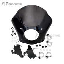 Pazoma High Qulity Aluminum & Plastic Black-smoke Motorcycle Headlight Fairing for Harley