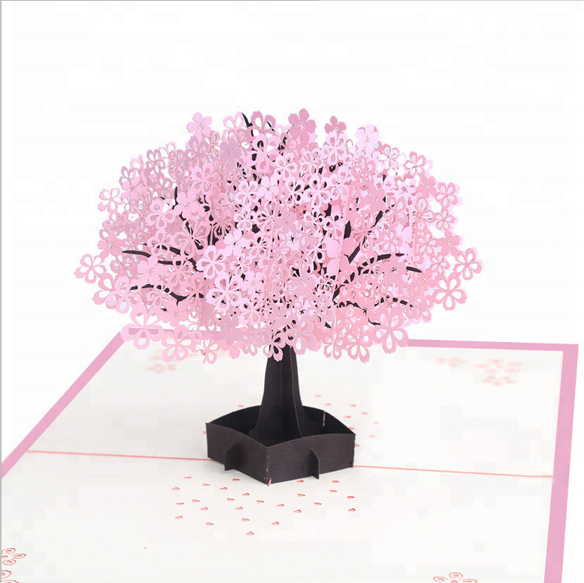 Factory direct supply 3D greeting card custom romantic cherry blossom Valentine's Day birthday greeting card