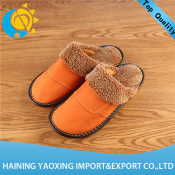 Hot sale cow hide fashion women slippers oem manufacturer