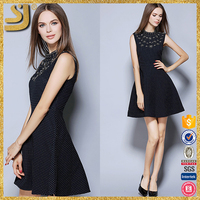Made in China young women fashion dress wholesale clothing supplier neck beaded dress