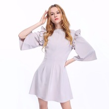 Latest Girl Fashion Spring Dress Design 100%Polyester 3/4 Flare Sleeve Pleated Tunic Dress