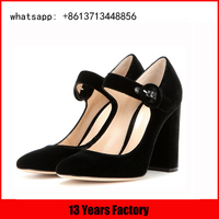 velvet black upper and instep strap with low moq shoes manufacturer wholesale china alibaba ladies shoes