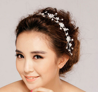 Factory Price!! Crystal Flower Party Wedding Hair Accessories Bridal Headband Tiara Headwear Silver Plated