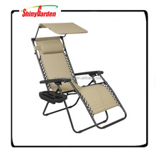 Foldable Recliner Zero Gravity Lounge Chair With Cup Holder&Canopy Shade