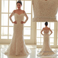 2017 new design romantic off-shoulder sash decorated A line sheath wedding dress