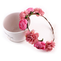 Boho Style Artificial Flower Crown Pink