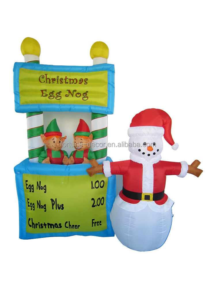 240cm polyester inflatable Christmas snowmen and double bears selling Christmas egg nog in shop