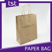 Custom Printed Brown Kraft Shopping Paper Bag with Logo Print