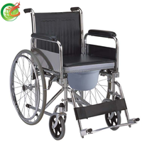 2015 Top-quality Steel Commode Wheelchair Flip back armrest with toilet(with CE&FDA&ISO)