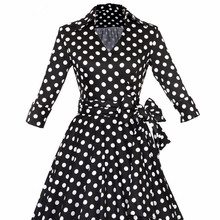 High quality latest fashion polka dots long sleeve maxi dress for wholesale