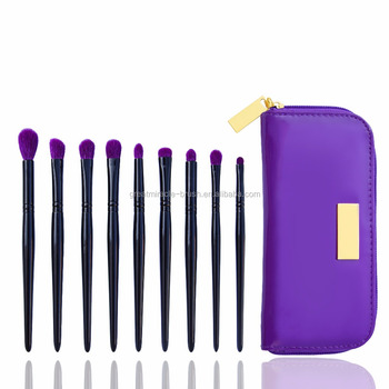 9pcs cool black with top quality goat hair eye make up brush set with purple makeup brush PU bag