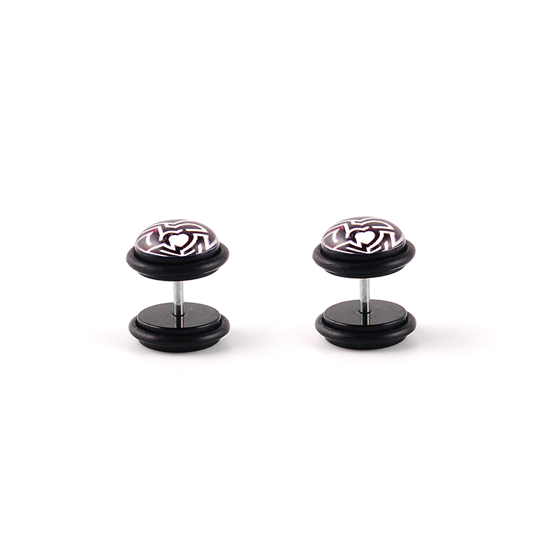 Black acrylic epoxy covered heart shaped logo ear tunnel with o-rings ear expander ear plugs piercing