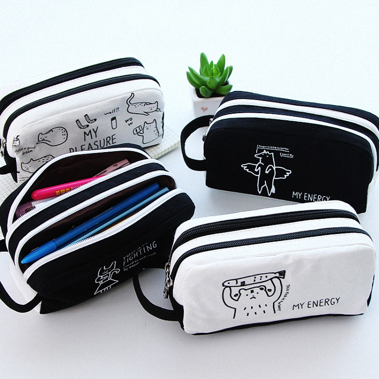 hot sale black small pouch high quality patchwork canvas pencil case pouch