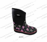 2013 lovely black neoprene rubber rain boots for kids