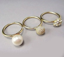 fashion jewelry pearls alloy finger ring set