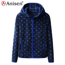 high quality windproof zipper-up round spots printed polar fleece women's hoodies