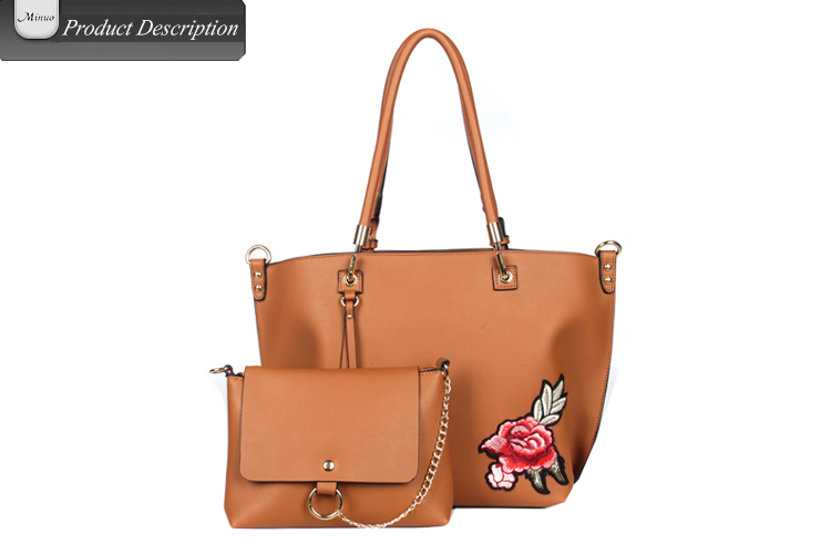 8731-2017 Embroidery leather tote bag High qualityhandbag tote bag wholesale women tote bag leather
