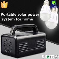 Portable led bulb and solar panel AC and DC charge lighting solar home system