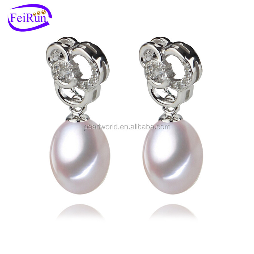 FEIRUN fashion jewelry earring pearl genuine 925, teardrop pearl necklace earring set, pearl logo earring