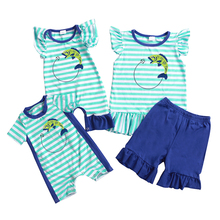 hot sale fish family matching clothes set boy girl baby romper