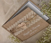 Burlap Natural Birch Bark Wedding Rustic Guestbook with embroidery names