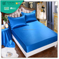 Luxury Royal Blue Silk Queen Size 3pcs Bed Set Fitted Sheets