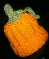 Orange Infant Handmade Crochet Child Beanie Pumpkin Hat Halloween Crochet Pumpkin Beanie Hat