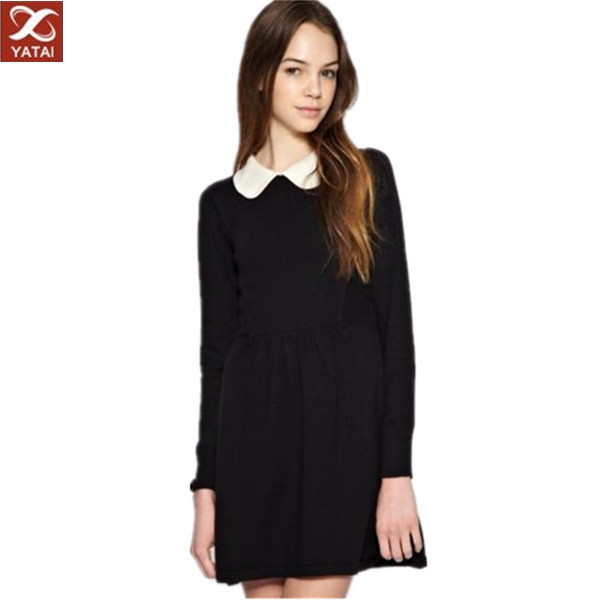 Young Girl Mini Black Dress With White Collar - Buy Black Dress ...
