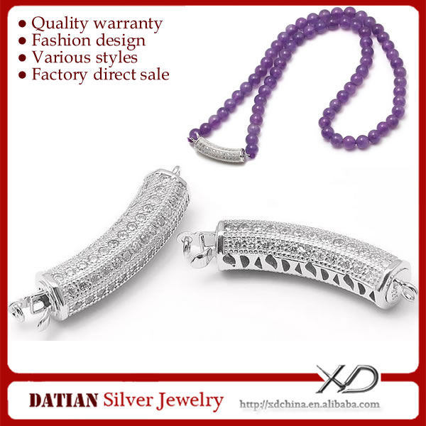 XD <strong>K101</strong> Long Tube Shaped 925 Sterling Silver Large Necklace Clasp