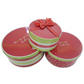 Hot style round metal biscuits storage tin boxes 3 set