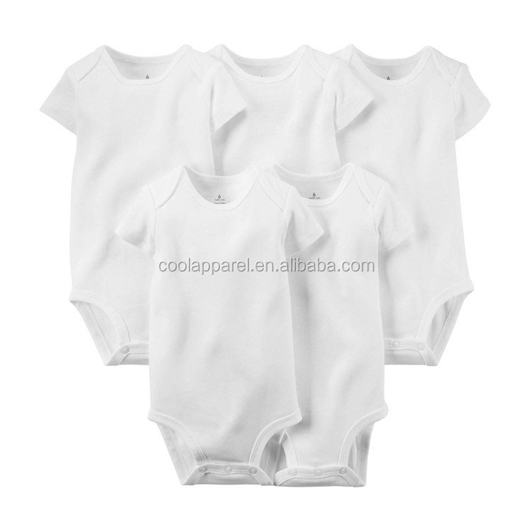 Wholesale 0-24M baby clothes, low price short sleeve 100% cotton plain white baby romper
