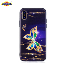 Soft TPU Butterfly Diamond Printed Case For IPhone X Customized Cover