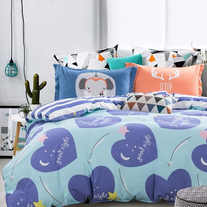 Heart Sharp Elephant Pattern Bed Set Blue Stripe Patchwork Bedsheet Cotton