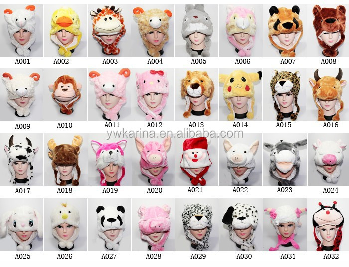 Cartoon Short Type Cute Plush Animal <strong>Hats</strong> Winter Warm Funny Party Cap <strong>Hat</strong>